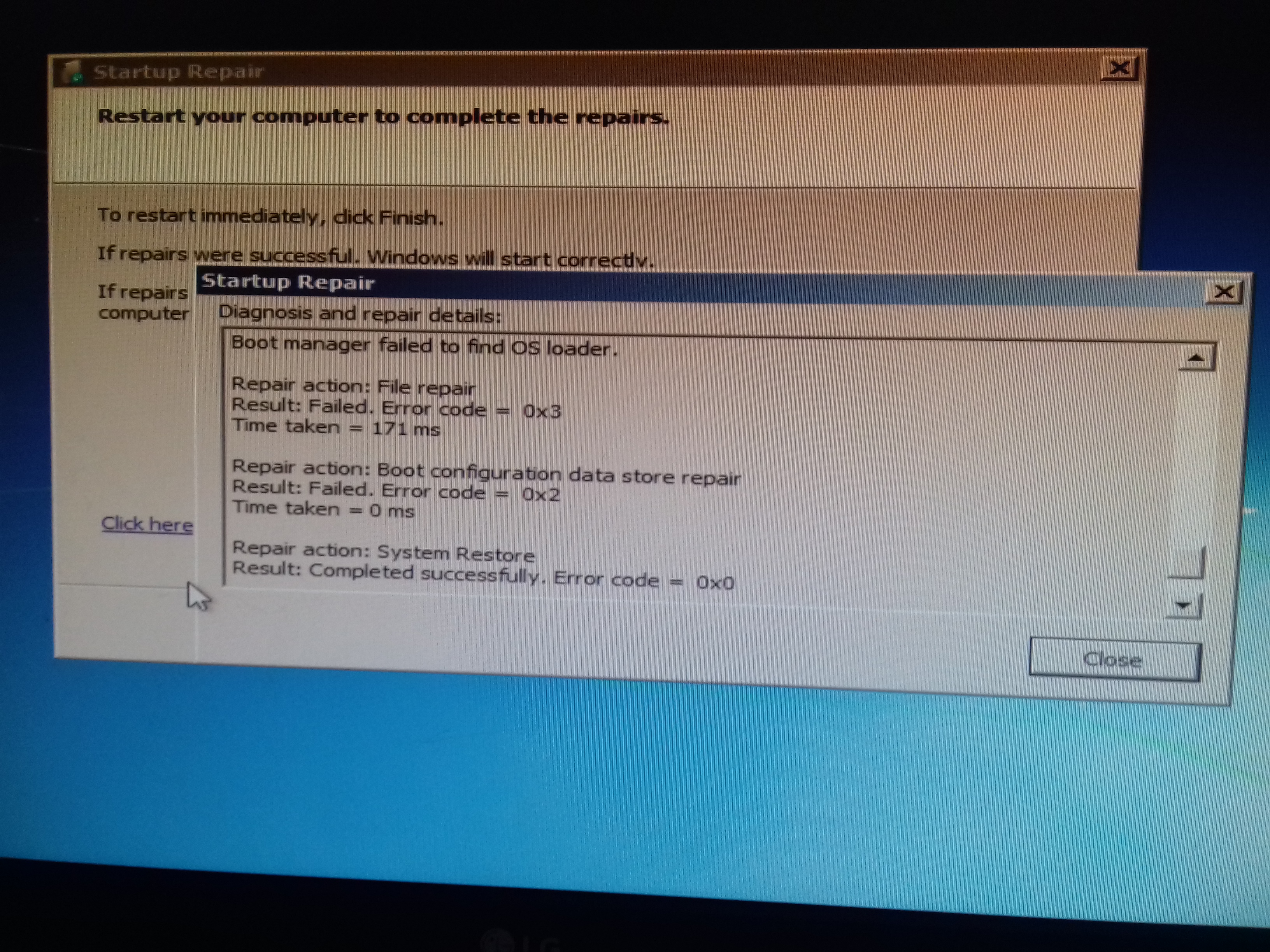 Boot manager failed to find OS loader   WINDOWS 7