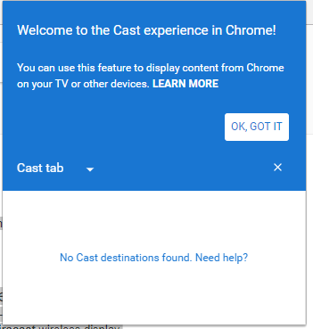 Unable to connect Chromecast to my Windows 10 device