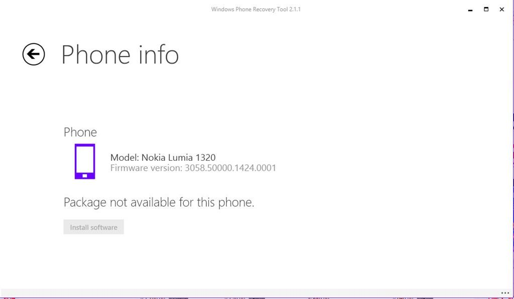 I am using windows phone recovery tool 2 1 1 to rolling back