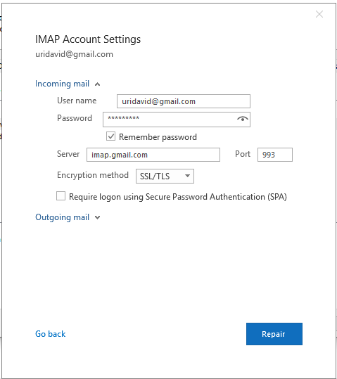 How to get my new gmail password back into