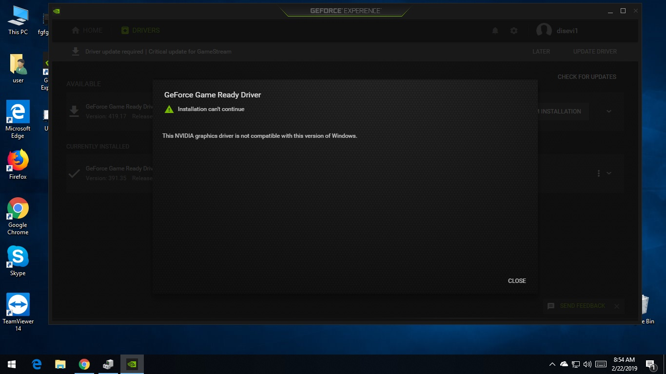 geforce game ready driver installation cannot continue