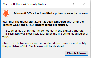 Outlook Security Problem with Self Certify Macro - Microsoft