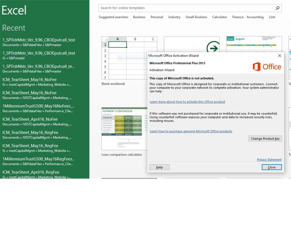 A popup requesting (requiring) that I activate Office 2013 ...