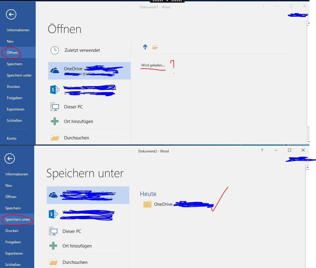Cannot access OneDrive Files via MS Office Applications
