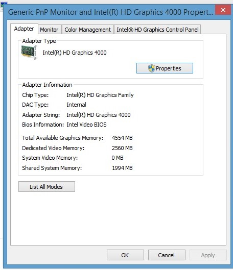 Dedicated Video Memory Reduced From 2560mb To 32mb After Updating To Microsoft Community