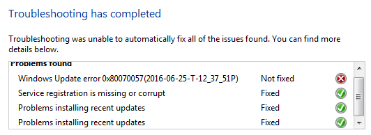 Unable to Manually reset Windows Update components KB971058