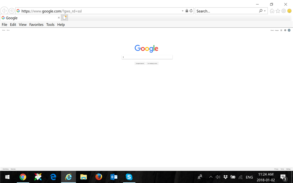 The appearance of Google IE version of my home screen