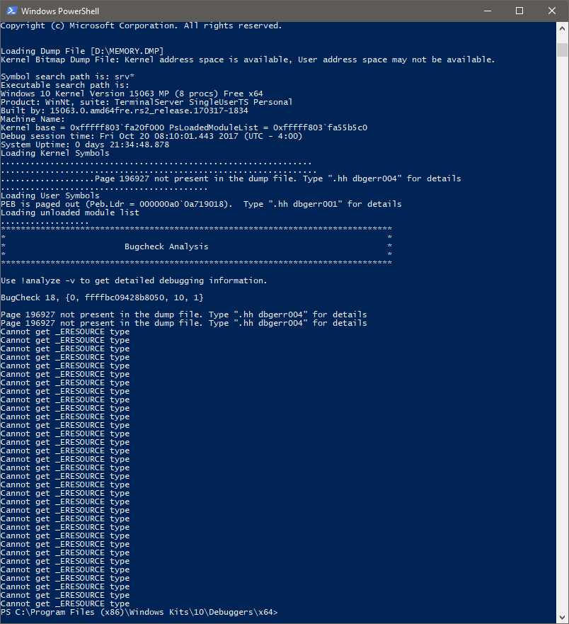 Dumpchk Hangs On Minidump File Microsoft Community