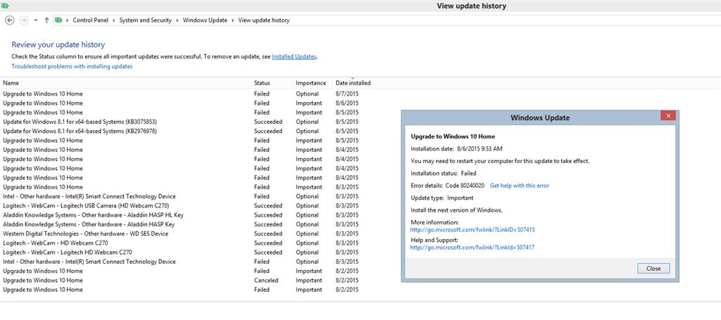 HELP! Windows 10 keeps failing to install error message