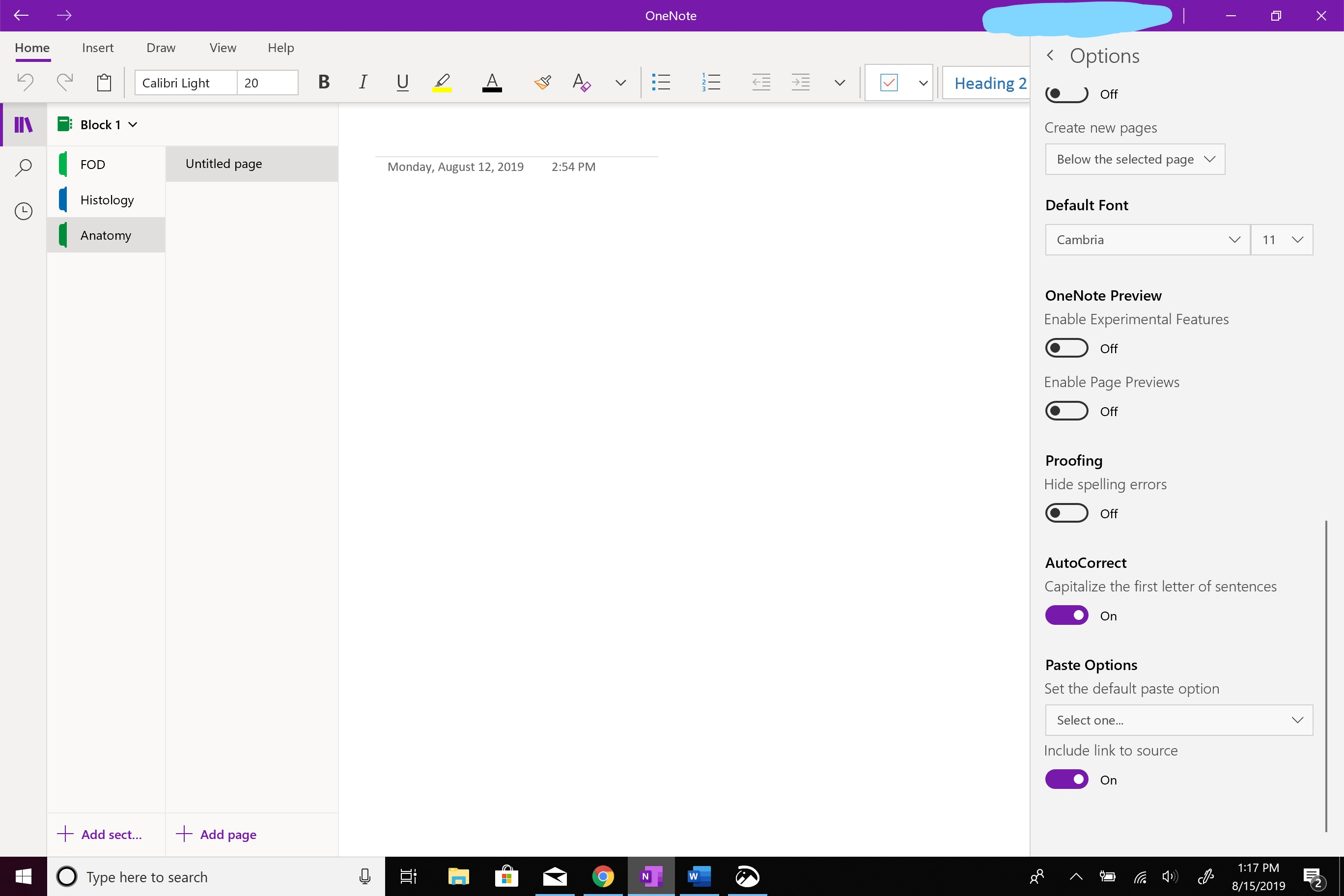 How do I change the default font color in OneNote for