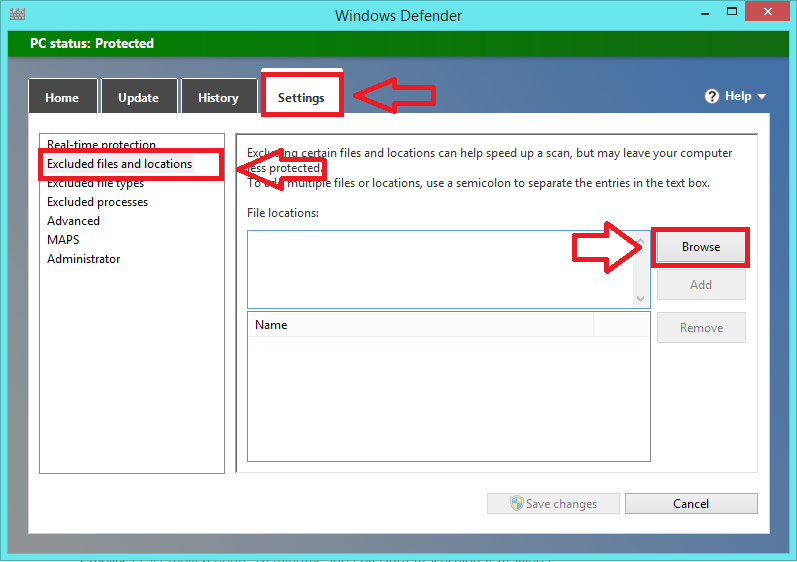 How to exclude a file/folder from Windows Defender malware