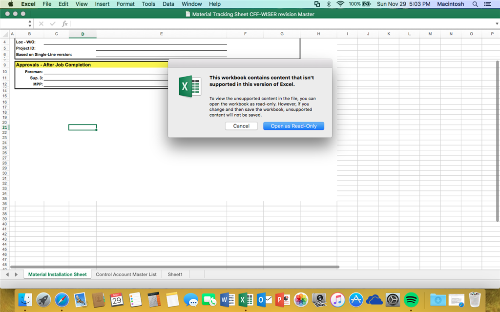Cant open an excel file with macros read only format mac any help would be greatly appreciated thank you ibookread ePUb