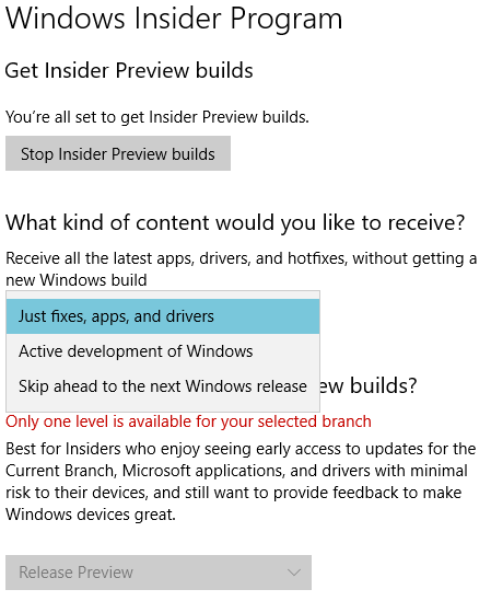 Opt out of windows insider preview builds - Microsoft Community