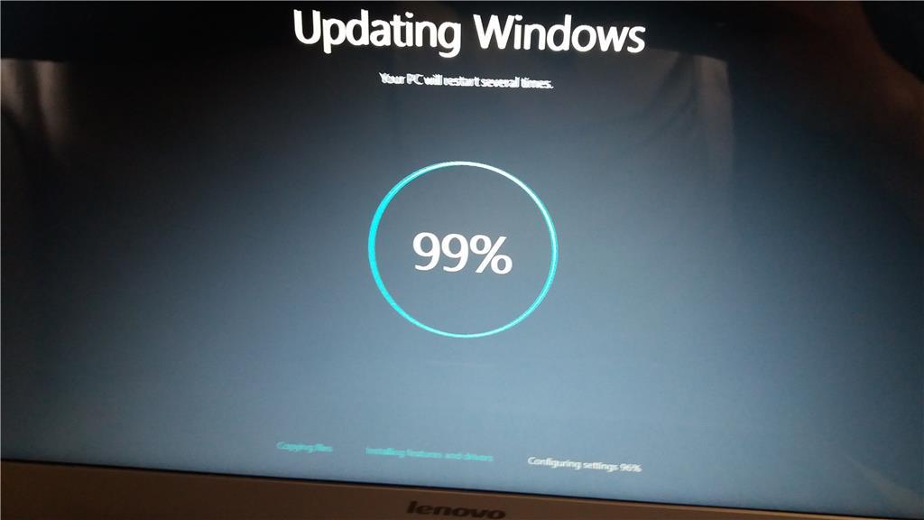 windows 10 upgrade stuck at 99