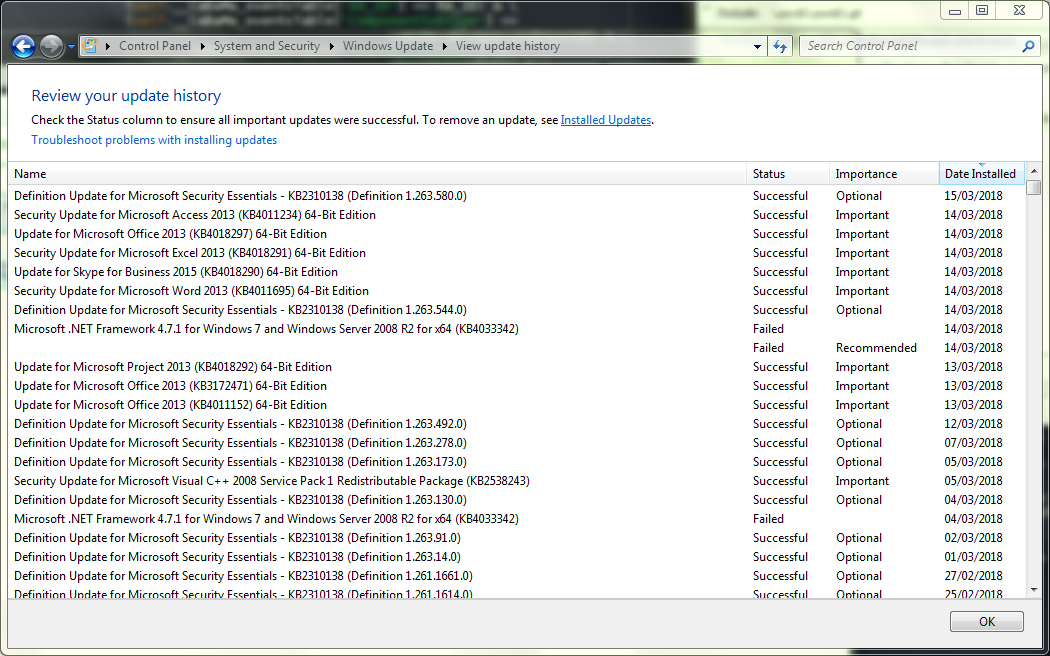 Windows 7 Update Missing Name Causes Explorer Crash