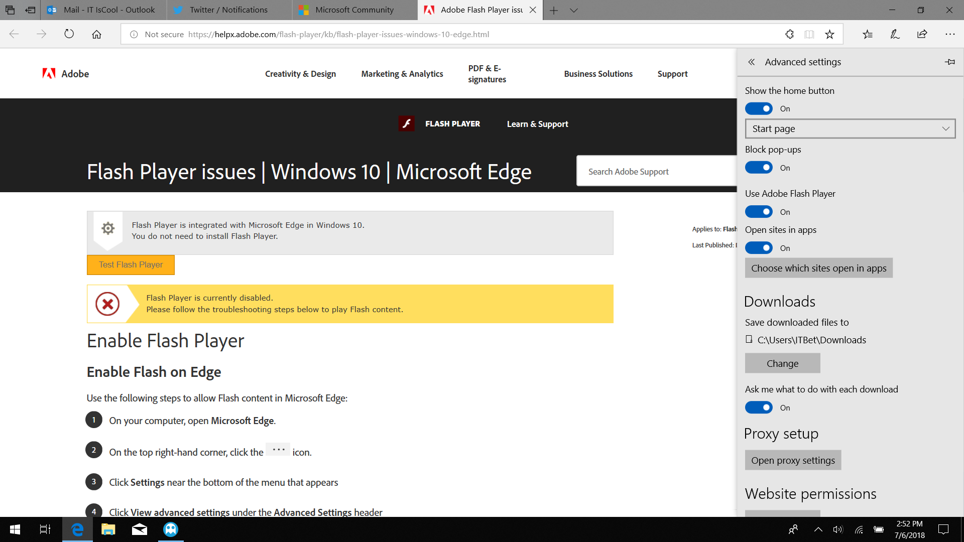 Websites are not recognizing that Adobe Flash Player is