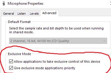 Microphone properties advanced tab Sample rate setting
