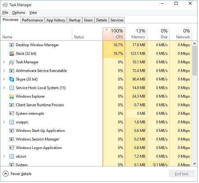 CPU @ 100%, red ring around CPU in task manager. - Microsoft Community