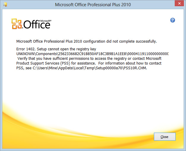 microsoft office 2010 setup error