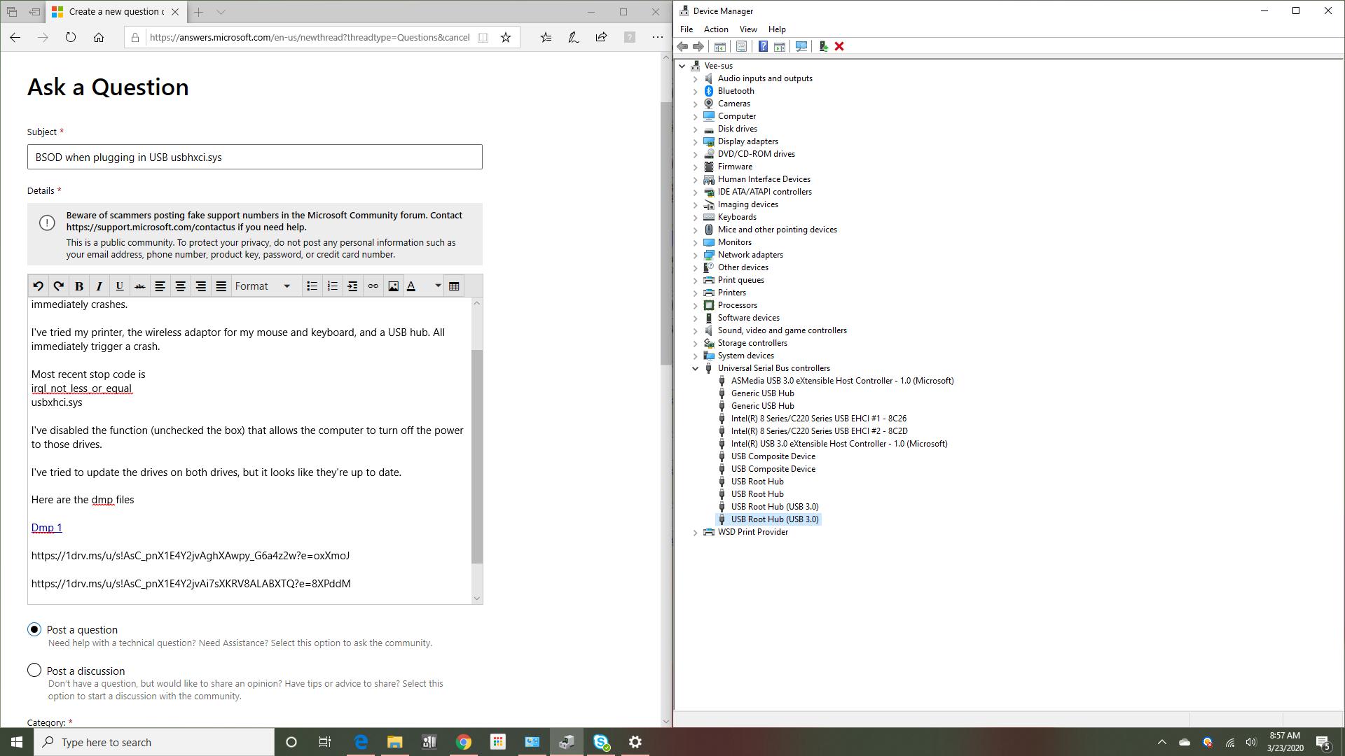 Error Usbxhci Sys Blue Screen On Pc Microsoft Community