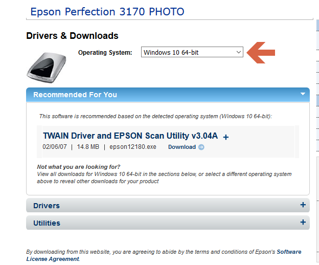 Epson 3170 Photo Scanner compatible with Windows 10