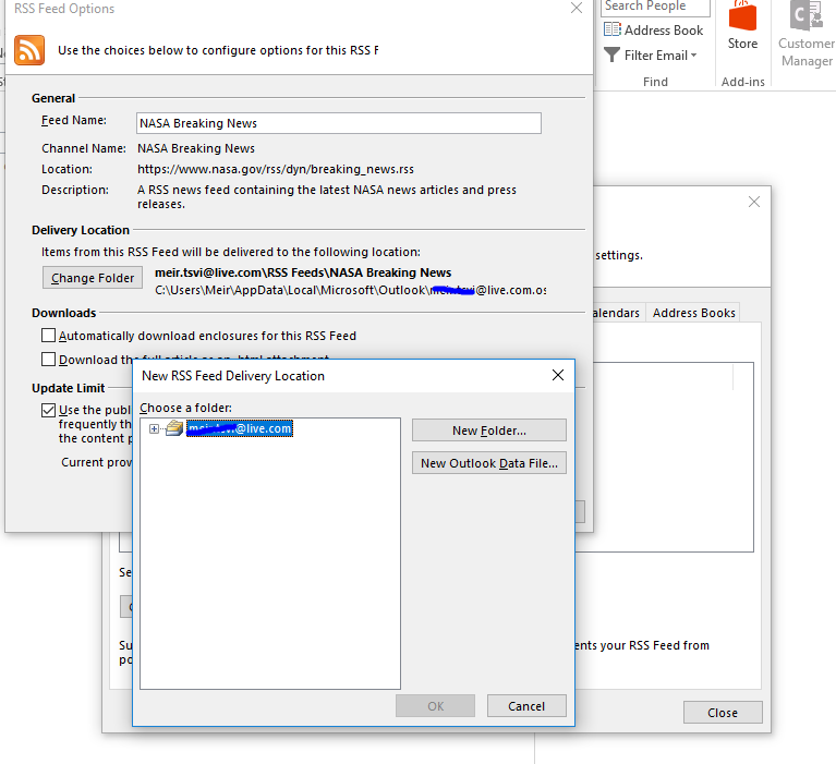 Outlook 2016 does not offer to keep RSS feed items under