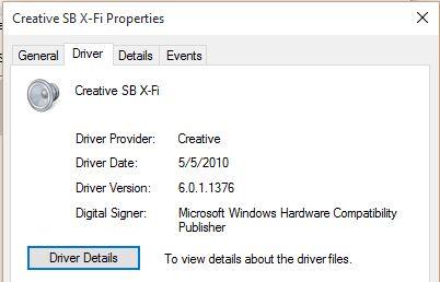 Win 10 Sound Blaster X-Fi Driver, works until machine is