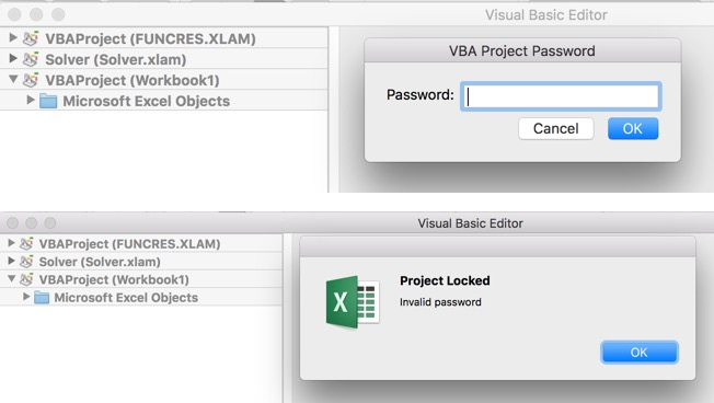 Excel 2016 Mac, VBA Editor, and Solver password issue