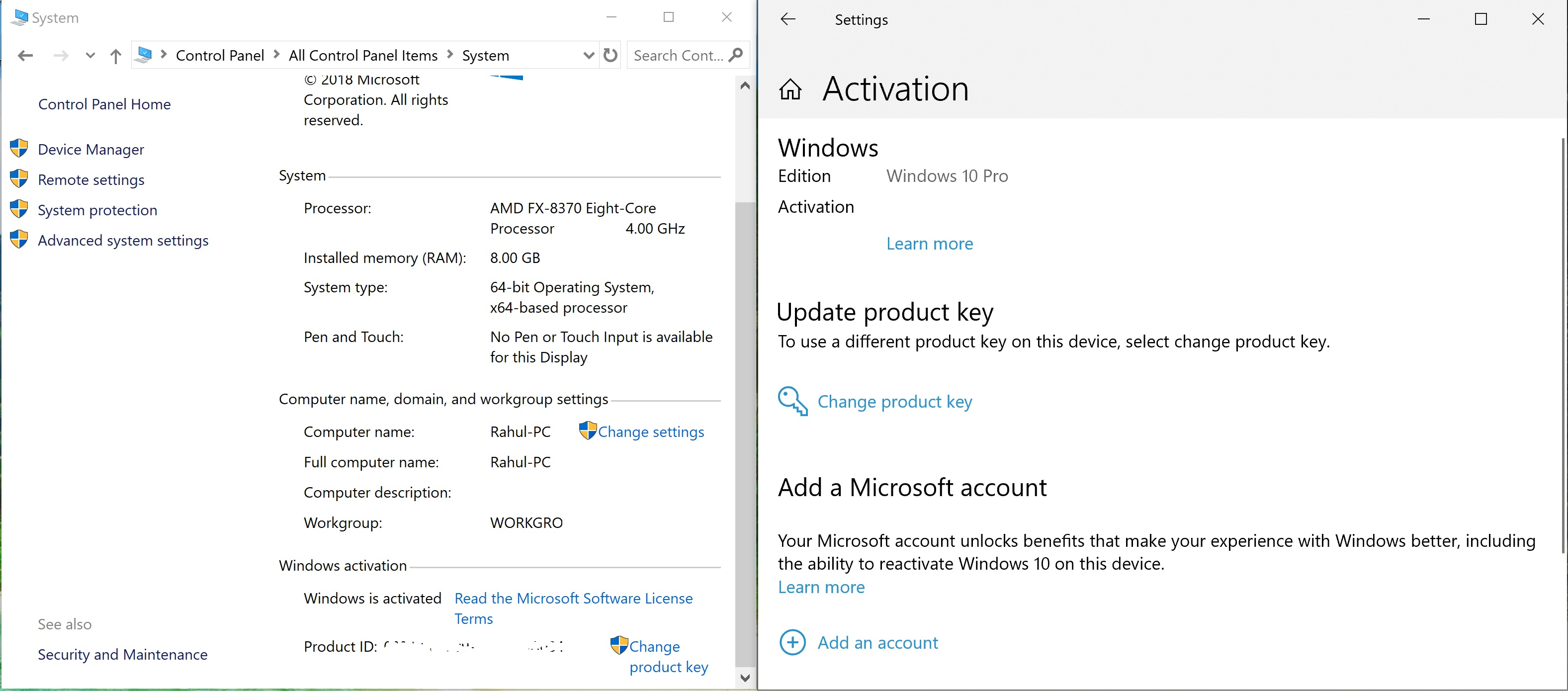 My Windows 10 Pro Retail license key successfully activated