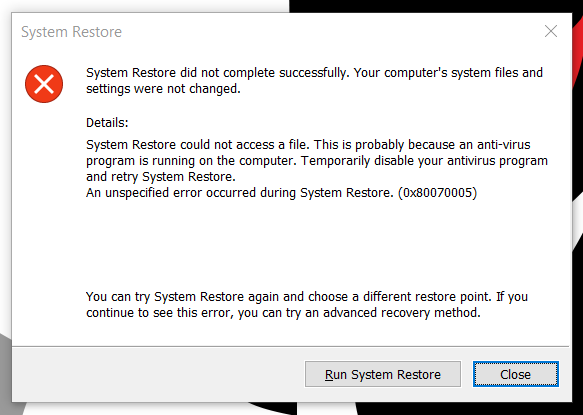 System Restore Did Not Complete Successfully Windows 10