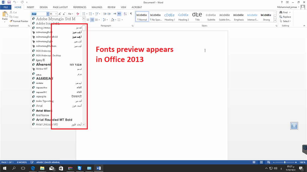 screen shot for the issue in office 2016 no preview in fonts drop down list