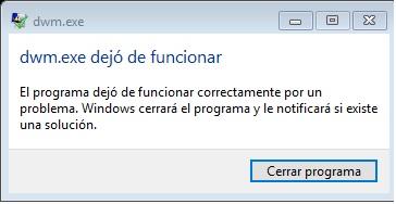 dwm.exe error de aplicacion windows 7 solucion