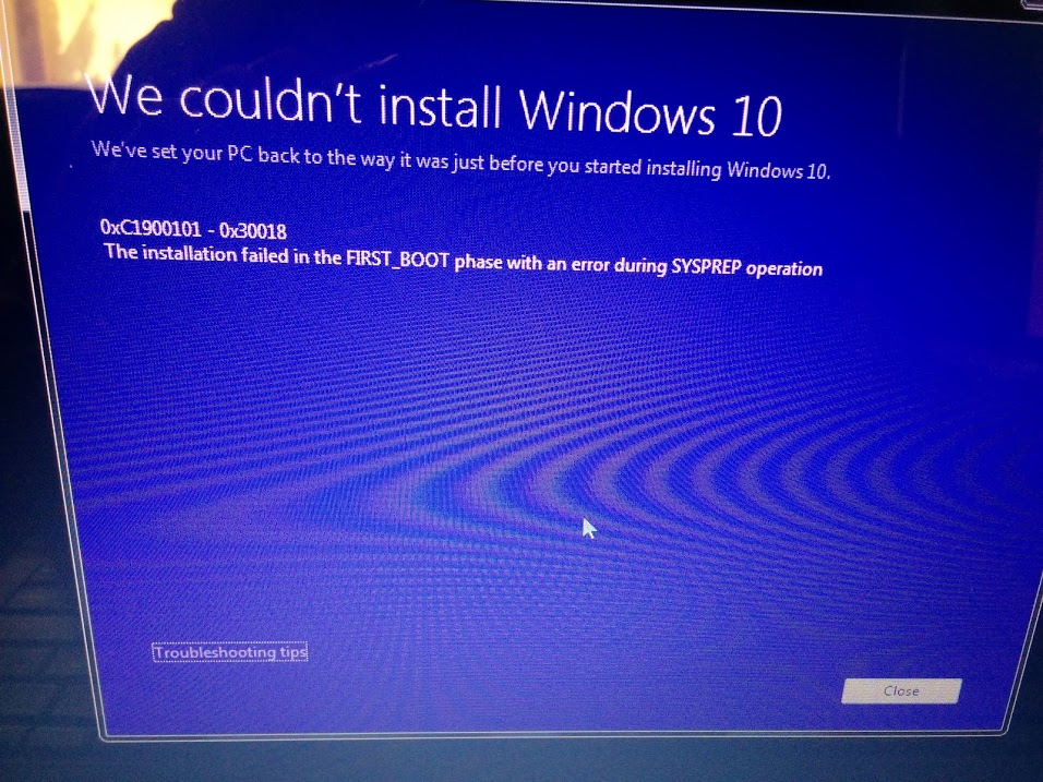 0xC1900101 - 0x30018 - We couldn't install windows 10