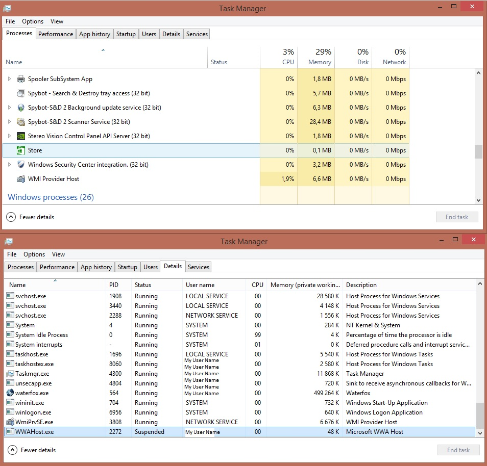 Why is Window Store Listed in TaskManager when it does not seem to