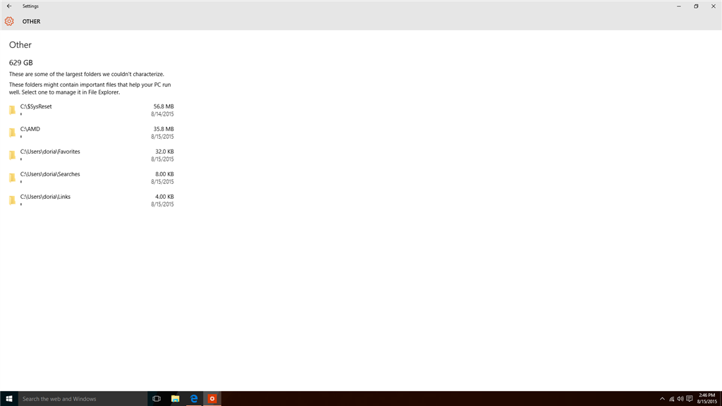 Windows 10 Using to Much Disk Space (Other Folder ...