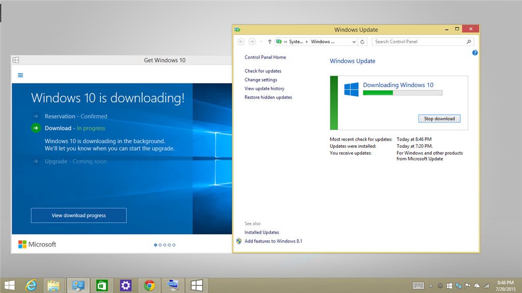 Windows 10 update files is already fully downloaded on laptop by