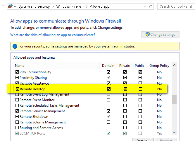Remote desktop sessions from other system into Windows 10 TP