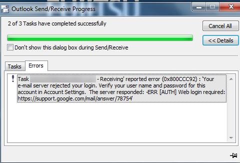 แก้ปัญหาารับข้อความของ Outlook Receiving' reported error