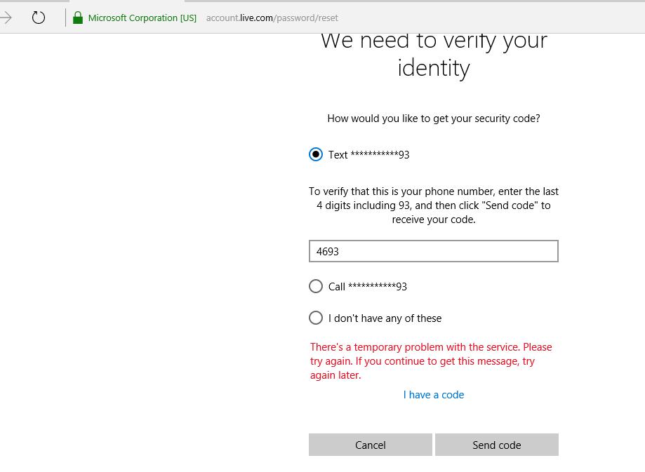 microsoft account password reset message
