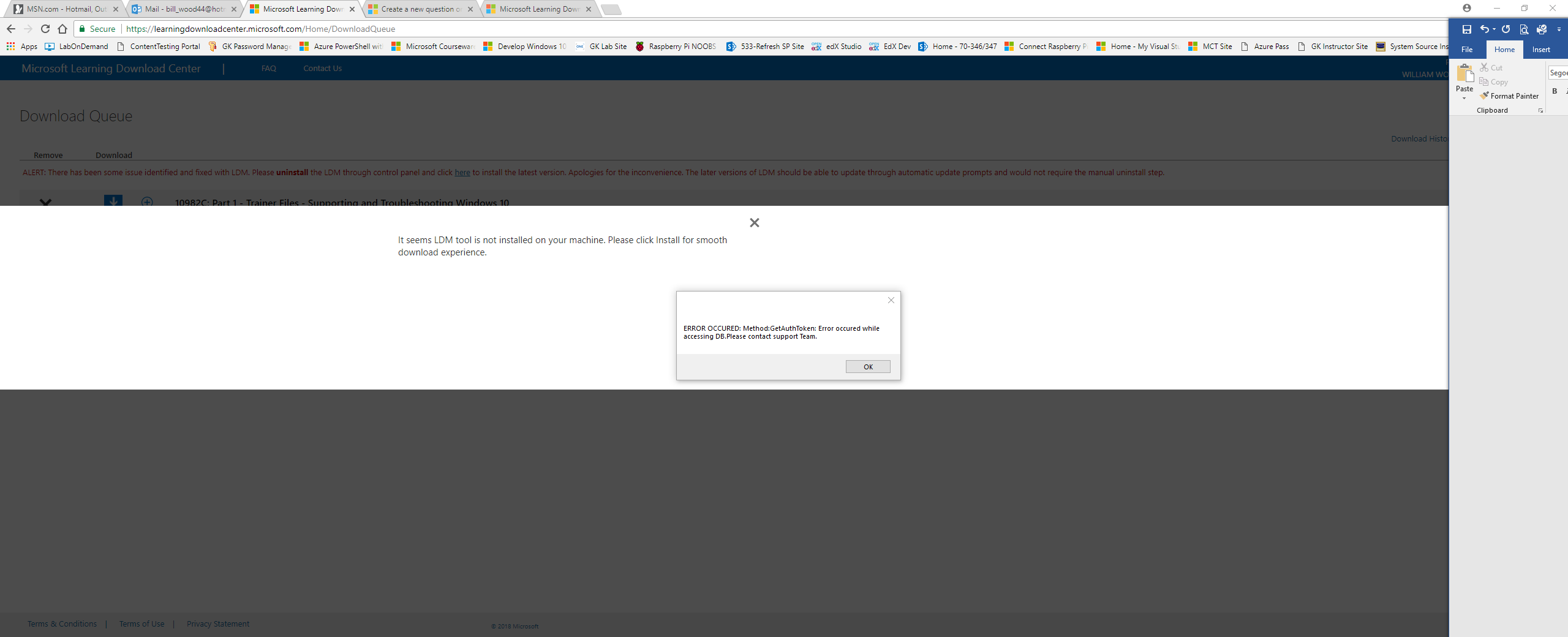 I Am Getting An Error When Trying To Download Courses From The