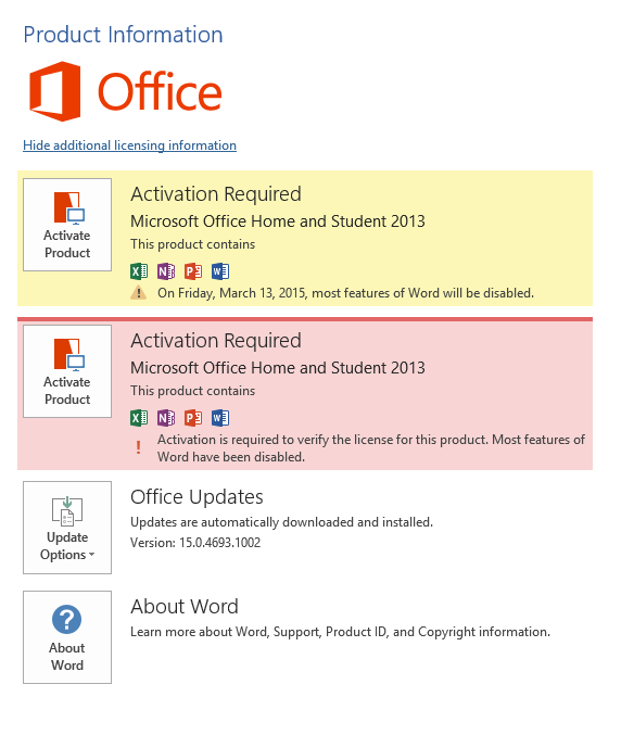 Office Home&Student 2013 keeps asking for activation - Microsoft