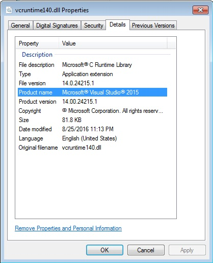 vcruntime140.dll is missing windows server 2016
