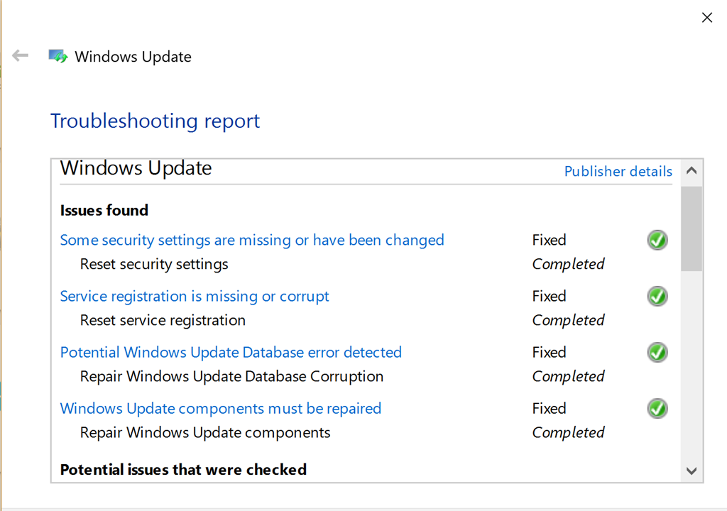Failed to install Cumulative Update for Windows 10 Version