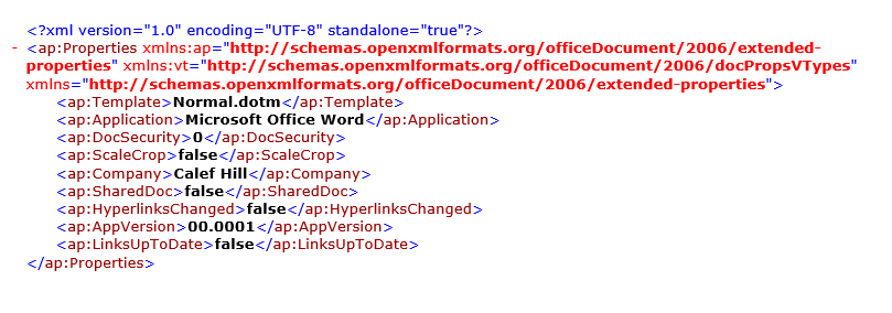 missing xml words and totaltime properties after microsoft