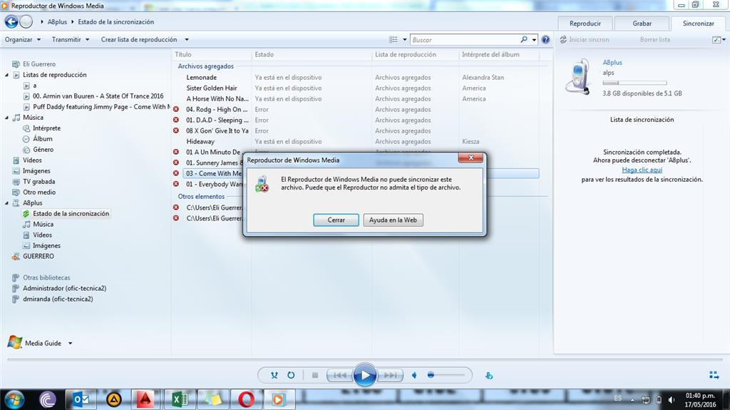 Windows 7 - Windows Media Player. No puedo sincronizar algunos ...