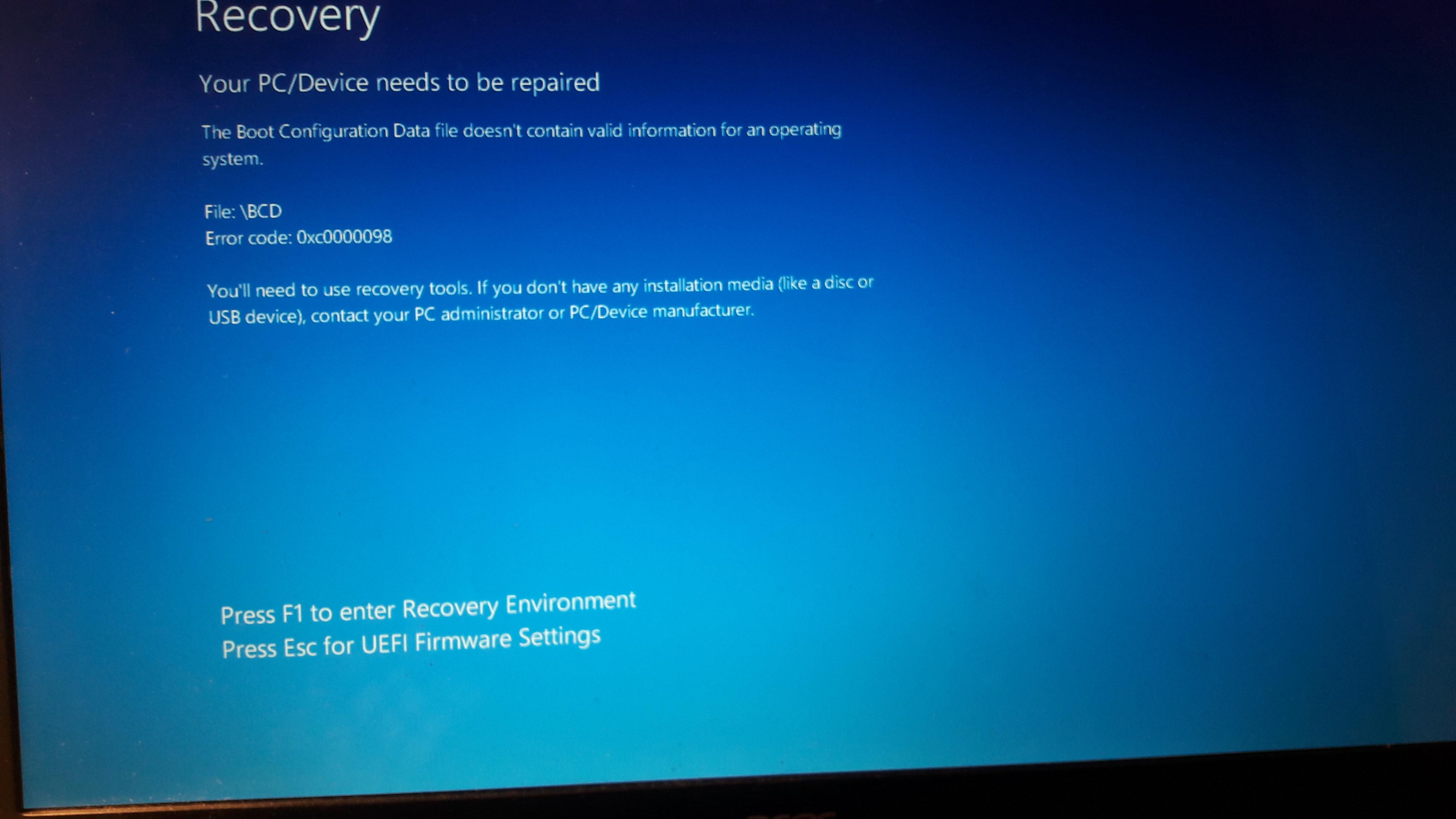 Beim Start erscheint nur ein Blauer Bildschirm - Recovery