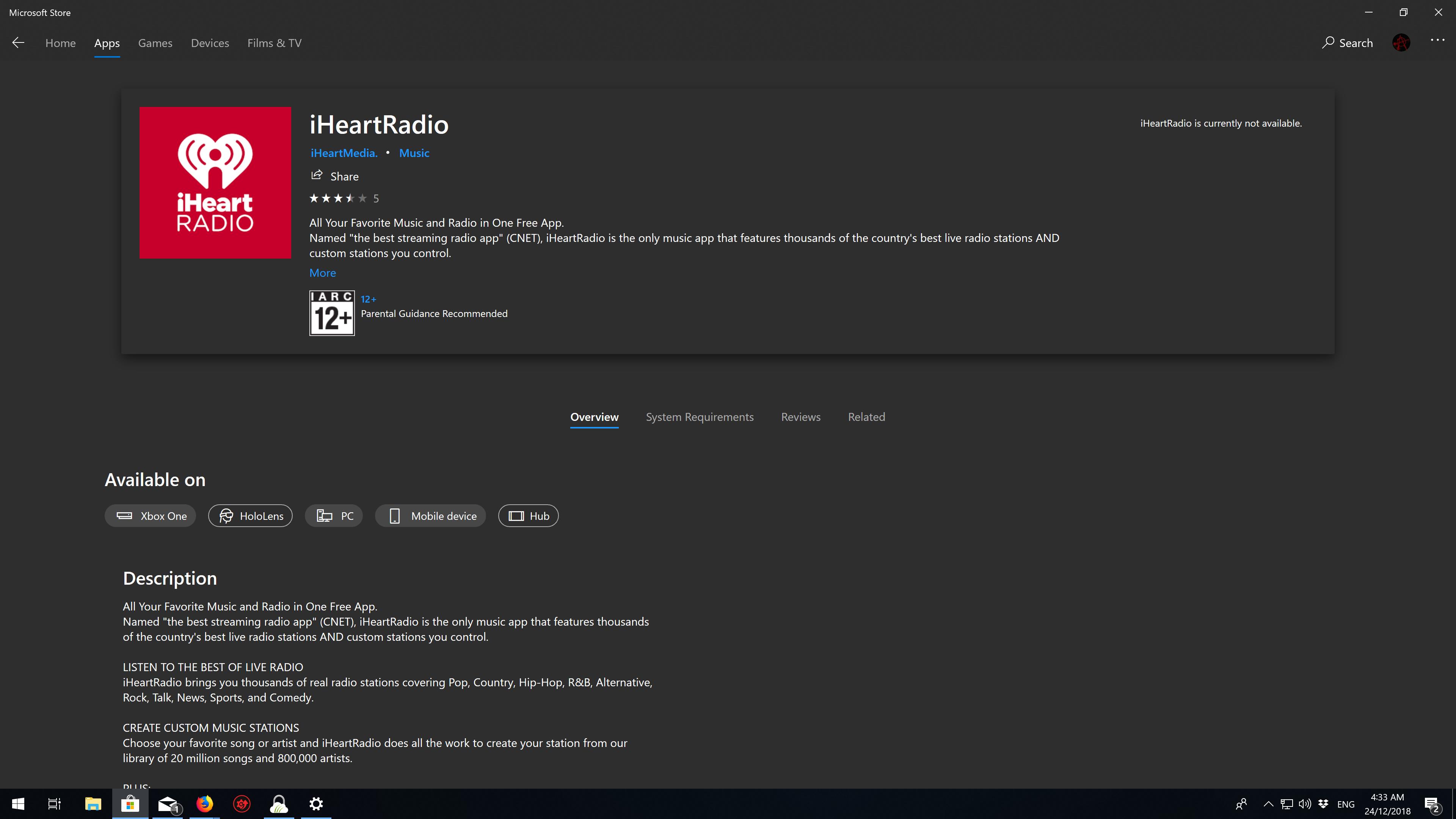 Cannot download iHeartRadio - Microsoft Community