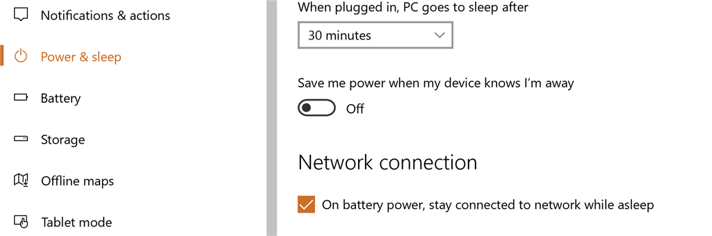 Windows 10: prevent sleep mode from disconnecting wifi when