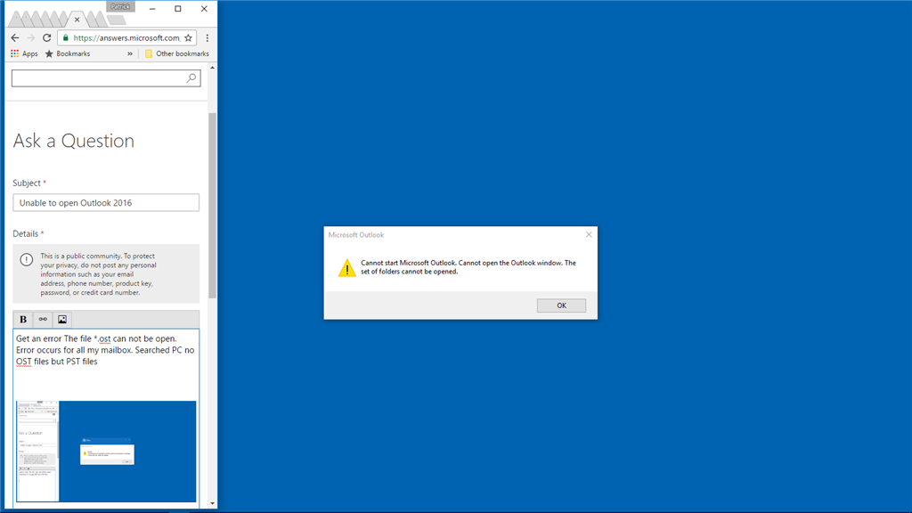 Unable to open Outlook 2016 - Microsoft Community