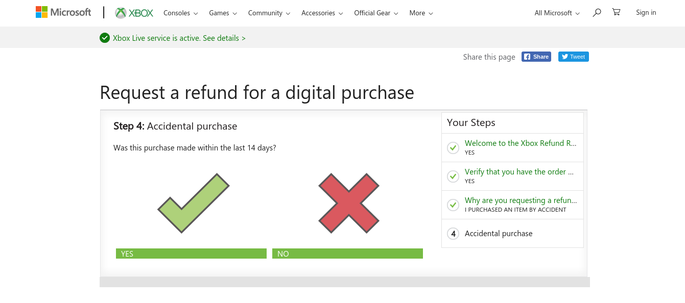 Denied a refund for an xbox digital game purchased